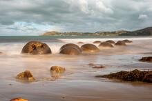 Scenic Moeraki Boulders At The East Coast Of New Zealand