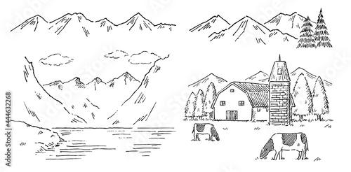 Fotografie, Tablou 山の風景色々ペン画モノクロ