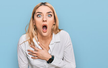 Young Caucasian Woman Wearing Casual Clothes Afraid And Shocked With Surprise And Amazed Expression, Fear And Excited Face.