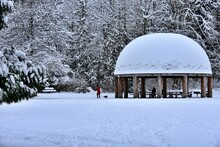 Winter In The Park. Snow Covered Gazebo. Grass Lawn Park, Redmond, Washington, USA