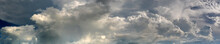 Panorama  Abstract Sky And Dark Clouds. Storm Cloud In The Dark Sky Background.vivid Sky On Rainy Cloud.