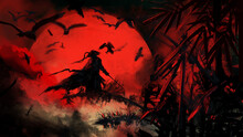 A Samurai Stands On A Bamboo At Night With A Katana In His Hand, Birds Fly Around Him, Behind Him Is A Huge Red Moon Shrouded In Clouds.
