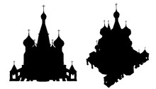 Silhouette Of A Sacred Temple With Domes Isolated On A White Background. Front And Isometric View. Vector Illustration