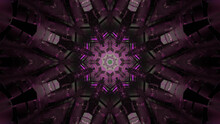 3D Rendering Of A Mirrored Abstract Purple Pattern, Reminiscent Of The Inside Of A Kaleidoscope