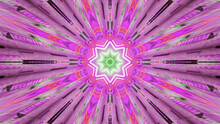 3D Rendering Of A Luminous Bright Pink Tunnel With A Glowing Flower- Pattern At The End