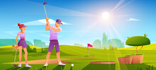 Golfers Playing Golf On Green Field Hitting Ball With Club On Nature Course Landscape Background With Red Flag, Sand Bunker And Trees Under Blue Sunny Sky. Sport Tournament Cartoon Vector Illustration