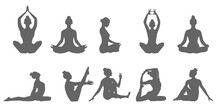 Set Of Black Yoga Pose Icons, Yoga Woman Silhouette Illustration. Yoga Poses Silhouette Collection. Vector Illustration.