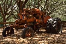 Closeup Of An Old, Rusty, Orange Tractor Near Trees.