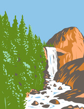 WPA Poster Art Of Vernal Fall On The Merced River Just Downstream Of Nevada Fall Within Yosemite National Park, California USA Done In Works Project Administration Style Or Federal Art Project Style.