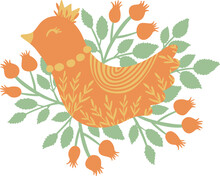 Vector Orange Ornament Bird With Leaves, Rose Hip, Crown