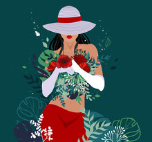 A Beautiful Woman In Gloves And A Hat Pulled Down Over Her Eyes Stands Against A Dark Background With A Bouquet In Her Hands. Vector Hand-drawn Illustration.