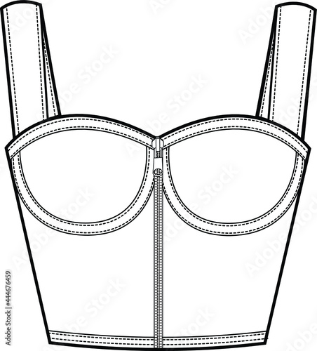 Tela Bustier top technical fashion Illustration with corset style silhouette, molded cups, close fit, front zip fastening, flat template cad mockup