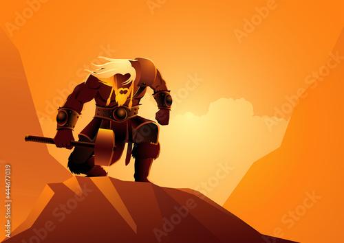 Obraz na plátně Viking warrior pose with his hammer