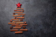 Christmas Card With Fir Tree Shaped Cinnamon And Anise Spices