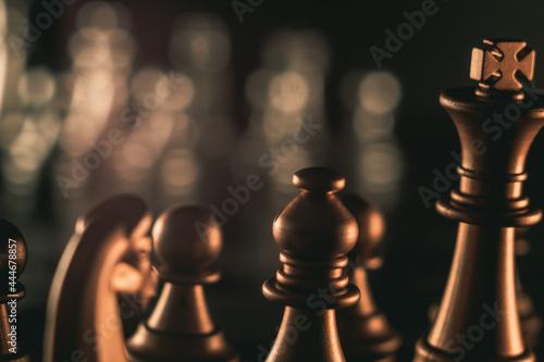 Billede på lærred Chess pieces on a chessboard