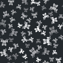 Grey Body Armor Icon Isolated Seamless Pattern On Black Background. Vector