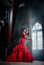 Woman Vintage Red Dress Old Castle Beautiful Princess In Seductive Dress