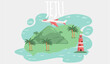 Jeju island in South Korea, tourist tour banner. Summer vacation, active tour with famous attraction, adventure time. Layout of postcard to island for travelers. Jeju, Korean nature and landscape
