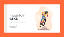 Bicycle Active Sport Landing Page Template. Cyclist Sportsman Character In Sports Wear And Helmet Riding Mountain Bike