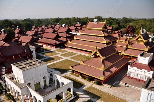 Ancient ruins building of Mandalay Palace the last Burmese monarchy Royal Reside Fototapet