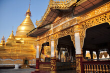 Maha Lawka Marazein Golden Stupa Of Lawkamanisula Pagoda Paya Temple Or Kuthodaw Inscription Shrine For Burmese People And Foreign Travelers Travel Visit Respect Praying In Mandalay, Myanmar