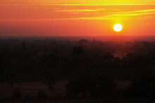 View Landscape With Silhouette Chedi Stupa Of Bagan Or Pagan Ancient City And UNESCO World Heritage Site With Over 2000 Pagodas And Temples Evening Twilight Dusk Time In Mandalay Of Myanmar Or Burma