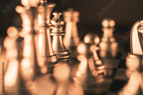 Canvas Chess pieces on a chessboard