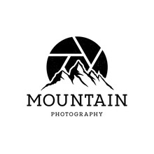Mountain Landscape With Symbol Lens For Outdoor Nature Photography Adventure Photographer Logo Design