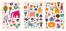 Baby Posters Collection. Baby Animals Pattern. Vector Illustration With Cute Animals. Nursery Baby Pattern Illustration