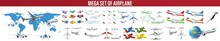 Set Of Commercial And Private Airplanes., Different Airplane Aircraft Set. Personal Airplane, Cargo. Side View Illustration, Set Big And Small Airplane For Transportation By Air.