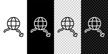 Set Line Global Economic Crisis Icon Isolated On Black And White, Transparent Background. World Finance Crisis. Vector