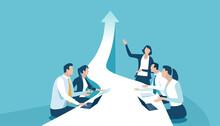 Business Plan. Female Team Leader Presents New Business Target. Vector Illustration.