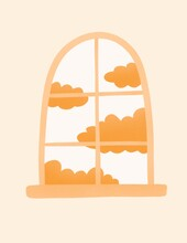 Cute Yellow Window With Clouds