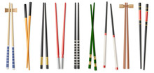 Realistic Colorful Chopsticks Set Isolated On White Background. Asian Food Chop Sticks