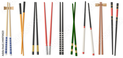 Foto Realistic colorful chopsticks set isolated on white background