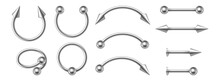 Piercing Jewelry. Realistic Metal Nose Rings. 3d Earrings Pierced Face Body Accessories Set
