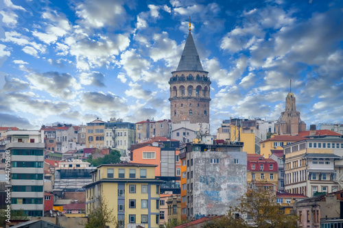 Galata tower and Beyoglu district old houses Istanbul city skyline in Turkey, Galata tower the street in the old town of Istanbul, Turkey