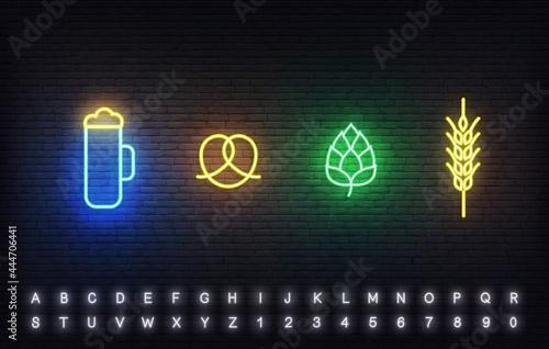 Valokuvatapetti Oktoberfest neon icons template