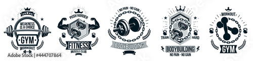 Foto Gym fitness sport emblems and logos vector set isolated with barbells dumbbells kettlebells and muscle body man silhouettes and hands, athletics workout sport club, active lifestyle