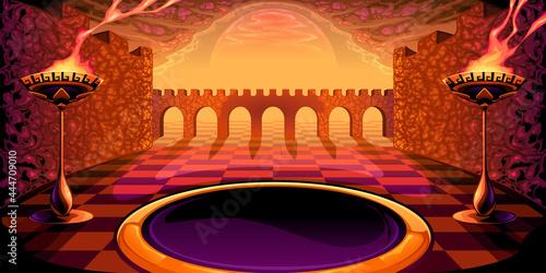 Fototapeta View on the labyrinth. Mythological vector illustration