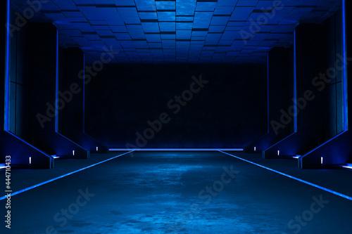 Billede på lærred Empty dark room, Modern Futuristic Sci Fi Background