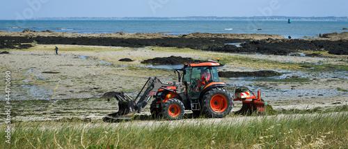 Fotografia Tracteur ramassant les algues vertes sur une plage à marée basse