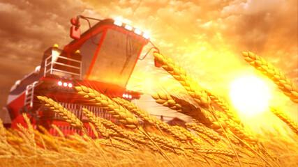 combine harvester on rye or wheat field on sundown - fictive design industrial 3D rendering