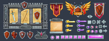 Stone Game User Interface Design Kit, Medieval Knight RPG Template Design, Rock Signboard, Shield. Vector UI Buttons, Parchment, Treasury, Victory Sign, Arrow Assets Panel. Game Interface Set