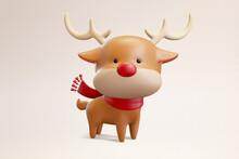 3d Cute Christmas Reindeer Figurine