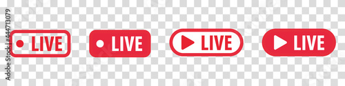 Fototapeta Set of video broadcasting and live streaming icon.