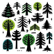 Tree Silhouette On White Background. Cutout Christmas Trees. Laser Cutting Template. Scandinavian Style.