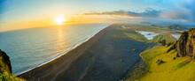 Aeria View Of Dyrholaey Beach Vik Village In Iceland