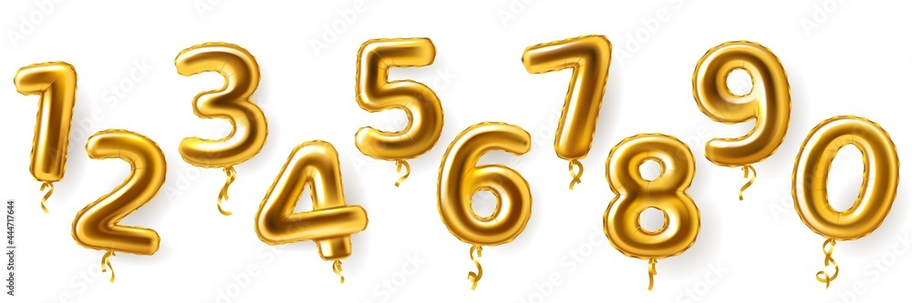 Obraz Golden number balloons. Realistic metal air party decor. Anniversary celebration numeral shapes from zero to nine. 3D festive events greeting inflatable metallic figures, vector set fototapeta, plakat
