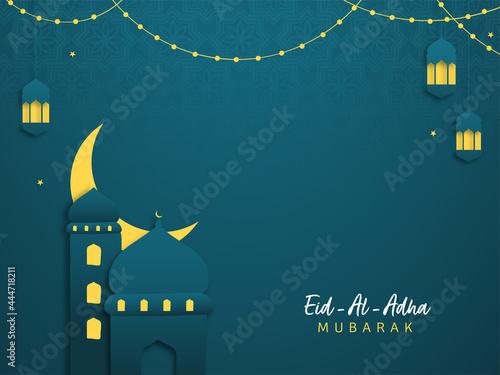 Fototapeta Islamic festival of sacrifice Eid-Ul-Adha Mubarak background with paper mosque, crescent moon and hanging lanterns